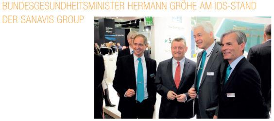 Bundesgesundheitsminister Hermann Gröhe am IDS-Stand der SANAVIS Group