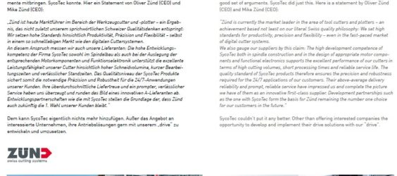 UPDATE Archiv • Ganzer Einsatz: SycoTec bei der Zünd Systemtechnik AG