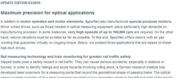 UPDATE Archiv • Höchste Präzision für optische Anwendungen