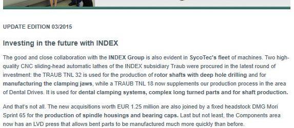 UPDATE Archiv • Zukunftsinvestitionen mit INDEX