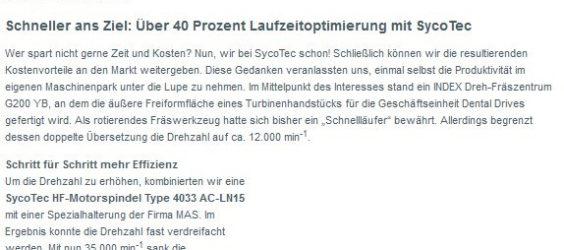 UPDATE Archiv • Schneller ans Ziel: Über 40 Prozent Laufzeitoptimierung mit SycoTec