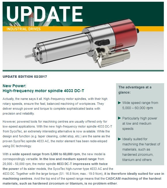 UPDATE Archive • New Power: High-frequency motor spindle 4033 DC-T