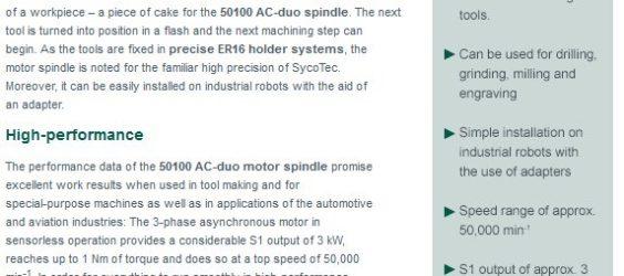 UPDATE Archiv • Doppelt produktiv: Hochfrequenz-Motorspindel 50100 AC-duo